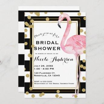 Pink Flamingo Black White Stripes & Gold Confetti Invitation