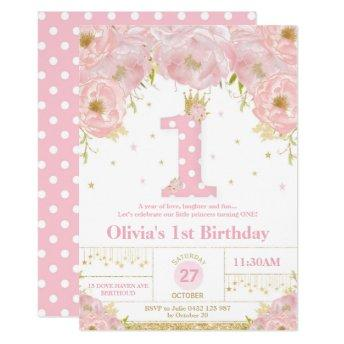 Pink Floral 1st Birthday Princess Invitation Girl