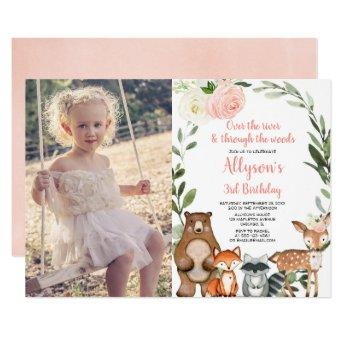 Pink floral cute woodland girl birthday photo invitation