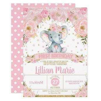 Pink Floral Elephant 1st Birthday Invitation Girl