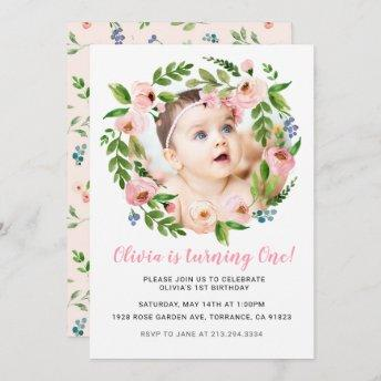 Pink Floral Girl 1st Birthday Invitation | Photo