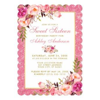 Pink Floral Glitter Sweet 16 Birthday Invite S