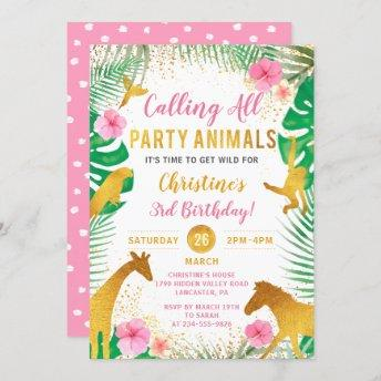 Pink Floral Jungle Animals Safari Girls Birthday Invitation