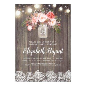 Pink Floral Mason Jar Rustic Lace Birthday Party Invitation