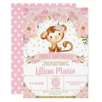 Pink Floral Monkey 1st Birthday Invitation Girl