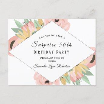 Pink Floral Surprise Save The Date 50th Birthday Invitation PostInvitation