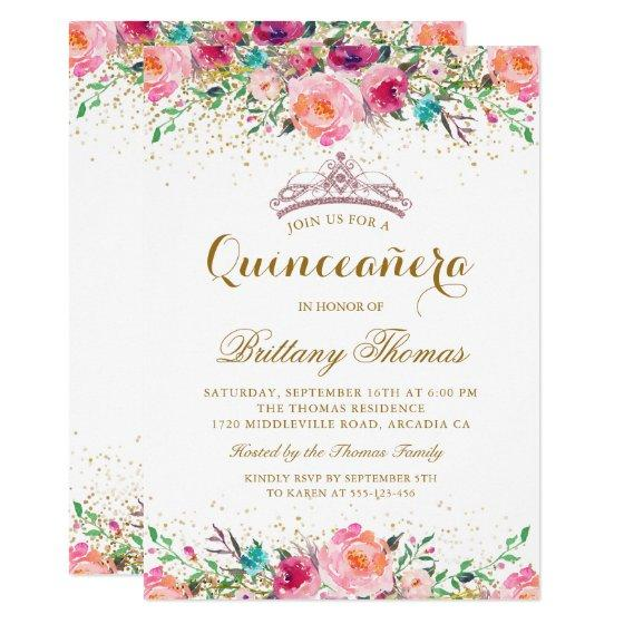 Pink floral tiara quinceanera 15th birthday invite birthday party 190 pink floral tiara quinceanera 15th birthday invite filmwisefo