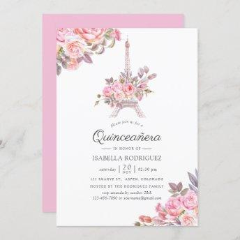 Pink Floral Watercolor Paris themed Quinceañera Invitation