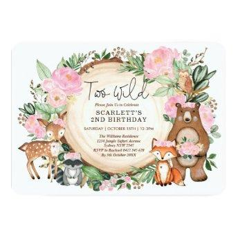 Pink Floral Woodland Girl 2nd Birthday Party Invitation