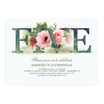 Pink Florals FIVE | 5th Birthday Party Invitation