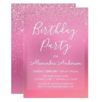 Pink Foil Girly Glitter Sparkle Any Age Birthday Invitation