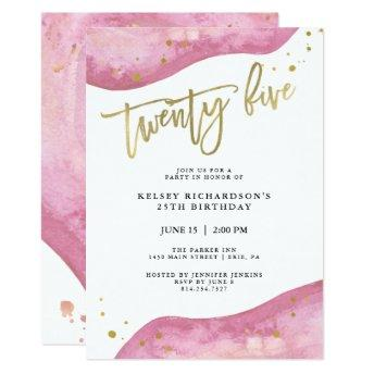 Pink Geode and Faux Gold Look | 25th Birthday Invitation