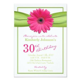 Pink Gerbera Daisy Orange Ribbon 30th Birthday