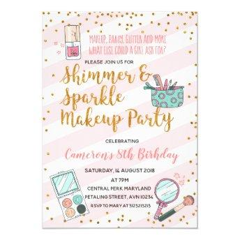 Pink girl makeup birthday party invitation
