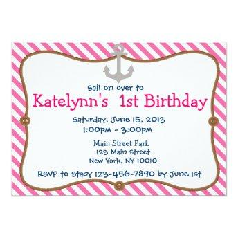Pink Girl's Nautical Birthday Party