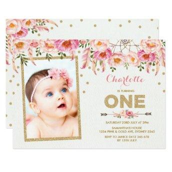 Pink Gold Boho Floral First 1st Birthday Invite