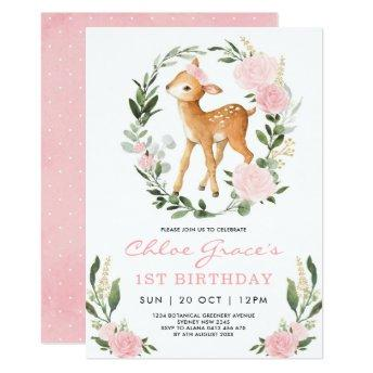 Pink Gold Deer Simple Greenery Forest Birthday Invitation