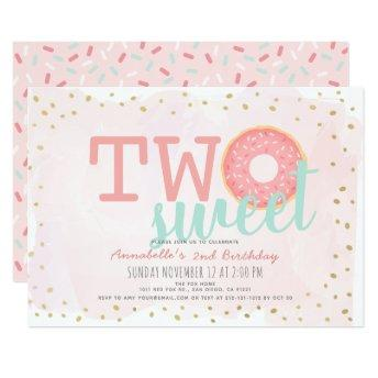 Pink Gold Donut Two Sweet Girl 2nd Birthday Invitation