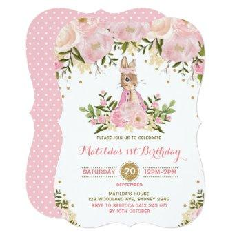 Pink Gold Floral Bunny Rabbit Birthday Invitation