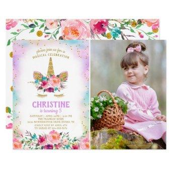 Pink & Gold Floral Unicorn Photo Birthday Party Invitation