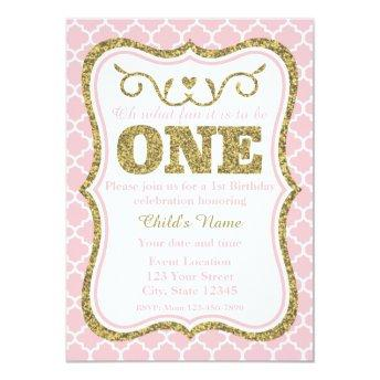 Pink Gold Glitter 1st Birthday Invite