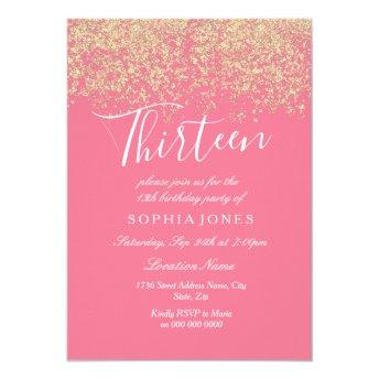 Pink Gold Glitter Confetti 13th birthday party