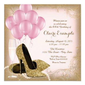 Pink Gold Glitter High Heels Birthday Invitation