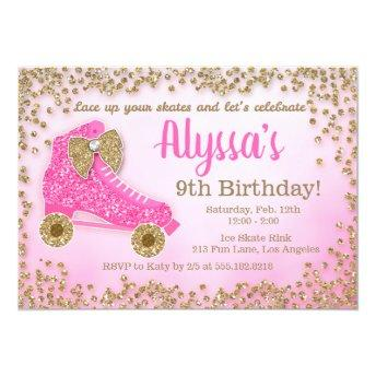 Pink & Gold Glitter Roller Skate Girl's Birthday Invitation