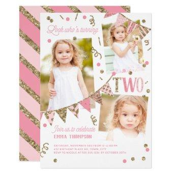 Pink Gold Glitter Second Birthday 3 Photo Collage Invitation