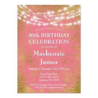 Pink Gold Lights Birthday Party  Adult