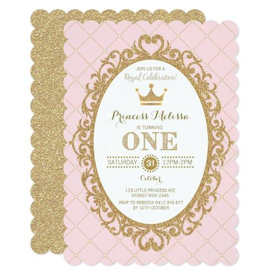 241 Pink Gold Princess 1st Birthday Party Crown Invite