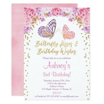 Pink gold purple elegant butterfly girl birthday invitation