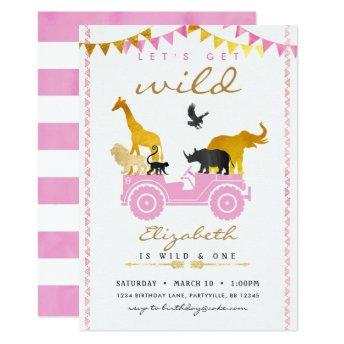 Pink Gold Safari Birthday Invitation