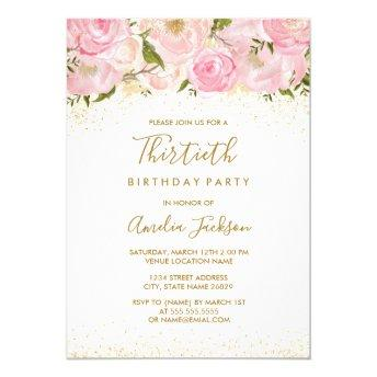 Pink Gold Sparkle Rose 30th Birthday Invitation