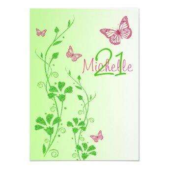 Pink, Green Floral Buttterflies 21st Birthday Invitation