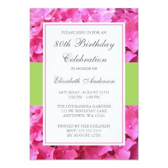 Pink Hydrangea Border Green 80th Birthday Party