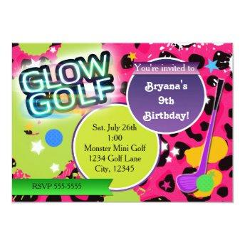 Pink Leopard Glow Golf Golfing Party Invitation