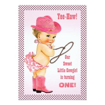 Pink Little Cowgirl Polka Dots 1st Birthday Invitation