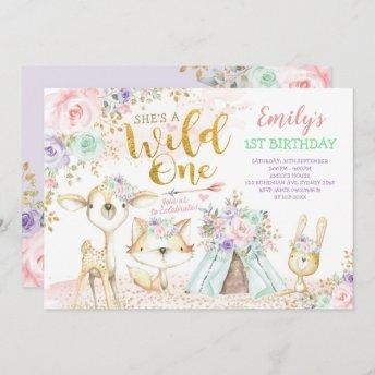 Pink Mint Purple Boho Woodland Animals Wild One Invitation