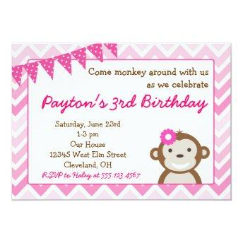 Pink Mod Monkey Birthday Party Invitation