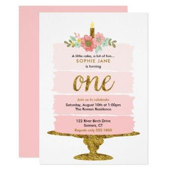 Pink Ombre Cake First Birthday Glitter Invitation