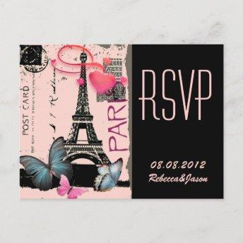 pink paris eiffel tower destination wedding invitation postInvitation