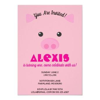 Pink Piggy Face Birthday Party Photo Invite