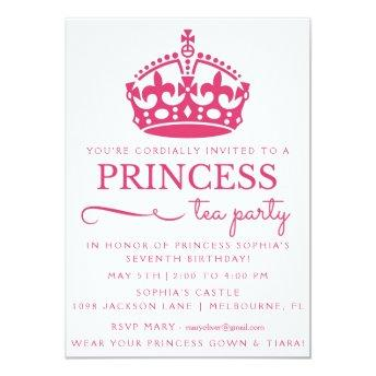 Pink Princess Tea Party Birthday Invitation
