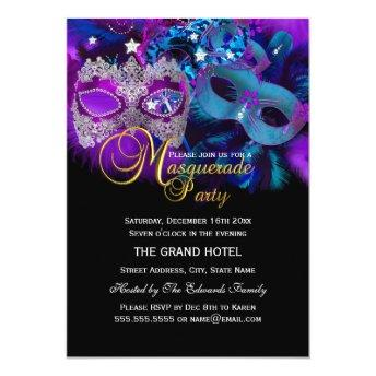 Pink Purple & Blue Masks Masquerade Party Invite
