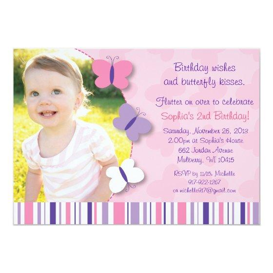 227 Pink Purple Butterfly Photo Birthday Invitation
