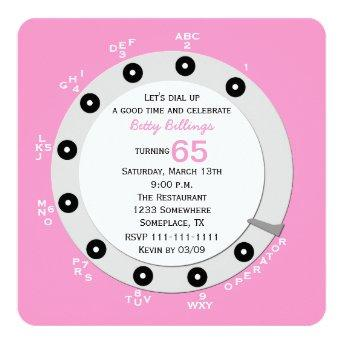 Pink Retro 65th Birthday Party Invitation Rotary