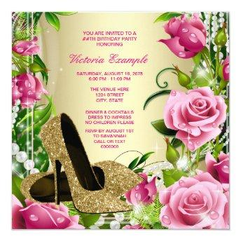 Pink Rose Pearl Gold High Heel Shoe Birthday Party Invitation