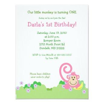 Pink Silly Monkey Jungle 4x5 Girl Birthday