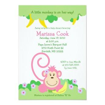 Pink Silly Monkey Jungle Girl Baby Shower